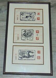 Vtg JAPANESE Embossed Print DRAGON Antelope BIRD Signed SEALS Lot C