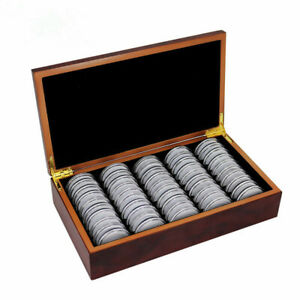 50Pc-46mm-Coin-Plastic-Case-Collector-Wood-Storage-Box-Organizer-aus-coins-Gift