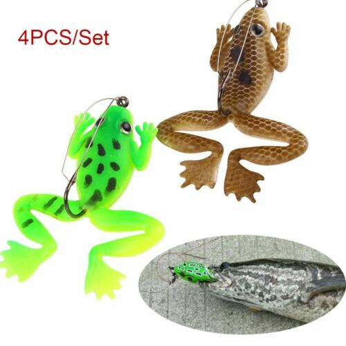 Lifelike Artificial Soft Fishing Lures Rubber Frog Spinner Sinking Bass Bait