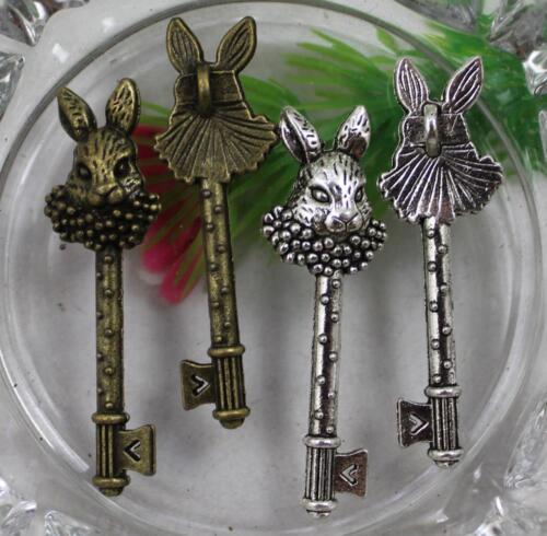 Lot 20//50pcs Retro style lovely rabbit key alloy charms Pendants 51x15mm