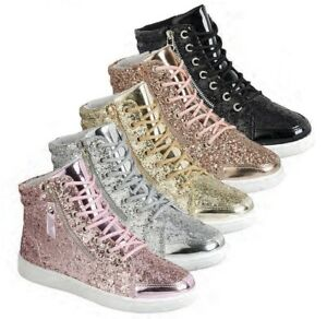 Womens Glitter Trainer Up Hi Sneaker Lace New Fitness Fashion Top W2D9EIH