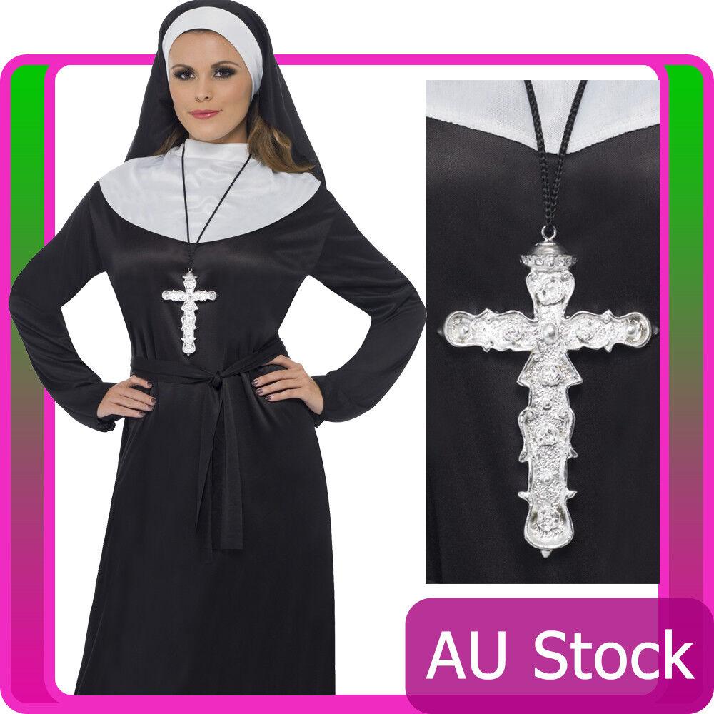 Ornate Cross Pendant Silver Religious Monk Priest Nun Costume Necklace Accessary