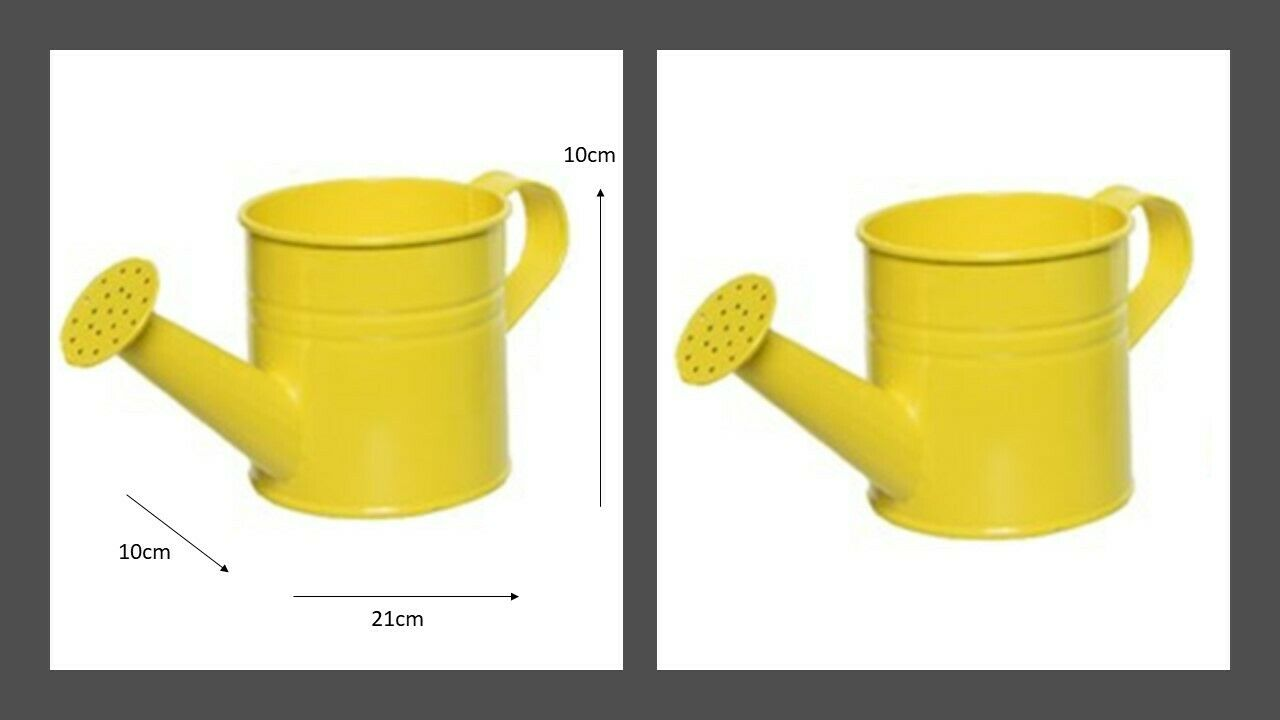 Small Zinc Watering Can Kids Flower Plant Pot Garden Watering Can Bright Yellow