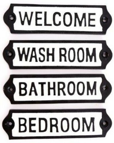Cast Iron Plaques Room Sign Welcome Bathroom Bedroom Wash Room Home Decor