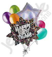 7 pc New Years Eve Midnight Blue Fireworks Balloon Bouquet Party Decoration 2019