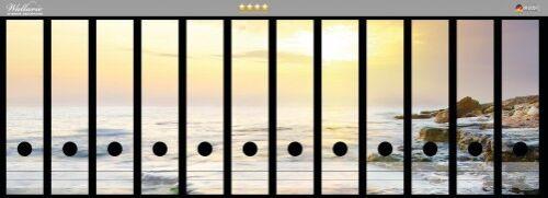 Sonnenuntergang Küste Wallario Ordnerrücken selbstklebend für 12 breite Ordner