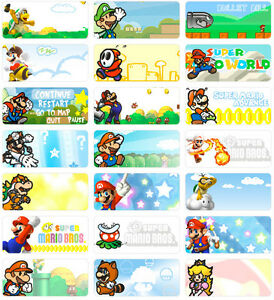 36 Super Mario 3x1 3cm Personalised Name Label Sticker