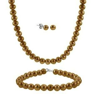 .925 Silver 5-6mm Freshwater Brown Pearl 3-Piece Set