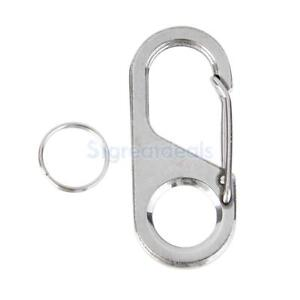104pcs Stainless Steel SBuckle Clip Snap Hook Dual Carabiner Keychain Keyring s