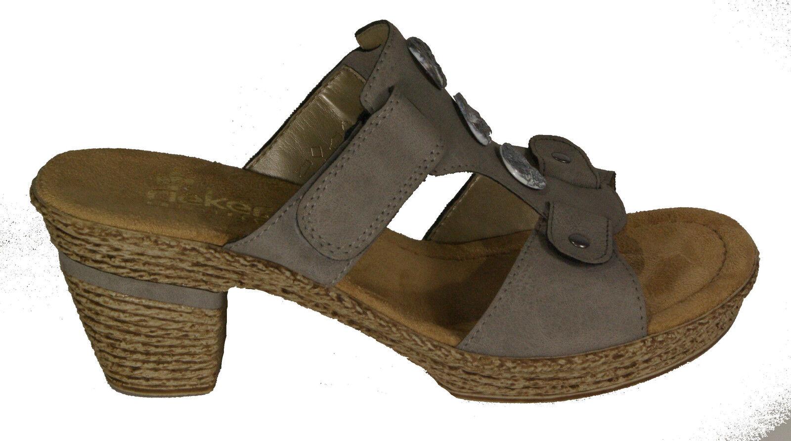 RIEKER Schuhe Pantoletten grau Klettverschluss Plateau  NEU