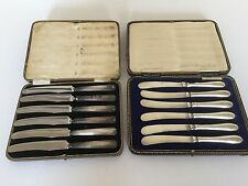 2 CASED SET OF 6 SOLID SILVER HANDLED BUTTER/TEA KNIVES  A/F