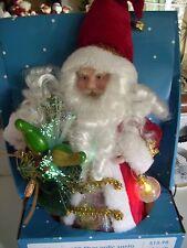 "LED-Fiber-Optic holding Gift bag and lighted Christmas bulb-Tree-Topper-12"""