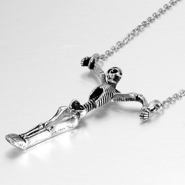 Personality Skull Skeleton Necklace Unisex Stainless Steel Halloween Jewelry,