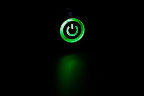 DEL Puissance Symbole 16 mm momentané//maintenu 5Pin métal Bouton Poussoir Interrupteur inverseurs