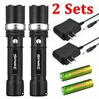 2 x Tactical 12000LM Ultrafire T6 High Powered 3 Modes Zoom Aluminum Flashlight