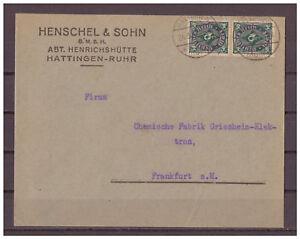 Empire-Allemand-Minr-209-Mef-Kos-Hattingen-Ruhr-apres-Francfort-au-24-03-1923
