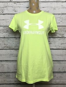 06a9671a Details about NWT Womens Under Armour Active Sportstyle Crew Shirt Heat  Gear Neon Green Size L