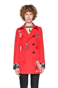 18 nero rosso Murielle Floral Rrp Mac Uk 36 con cinturino 8 46 119 Coat Desigual v6TFF