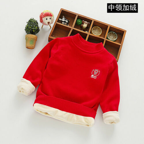 Kids Toddler Girls Candy Colored Double Lined Fleece Round Neck Sweater Top ZG8