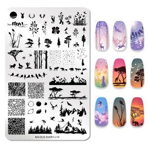 NICOLE-DIARY-Nagel-Schablone-Rectangle-Animal-Tree-Image-Nail-Art-Stencils-L10