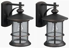 2 Pack Oil Rubbed Bronze Outdoor Wall Mount Lantern Lights Exterior Seeded Glass