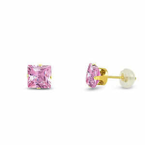 Solid-14K-Yellow-Gold-Square-Princess-Cut-Pink-CZ-Stud-Earrings-Free-Gift-Box