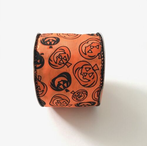 Black and Orange Pumpkins Wired Ribbon 9 Feet