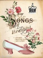 Fabric Block Vintage Four Songs Sheet Music Cover Pink Roses Pink Shoe Crown