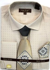 Men-039-s-Dress-Shirt-Tie-Hanky-Set-Beige-French-Cuff-Spread-Collar-With-Cuff-Links