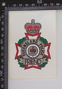 VINTAGE-QUEENSLAND-POLICE-FRIEND-SHIELD-LOGO-ADVERTISING-PROMO-STICKER