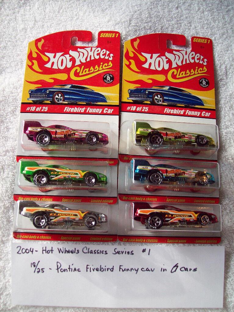 2004 HW Classics Series 1 18 25 Pontiac Firebird Funnycar 6 Car Set in 6 colors