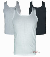 MENS VEST 100% COTTON GYM TRAINING SUMMER TOPS PACK OF 2 WHITE BLACK GREY S-XL.