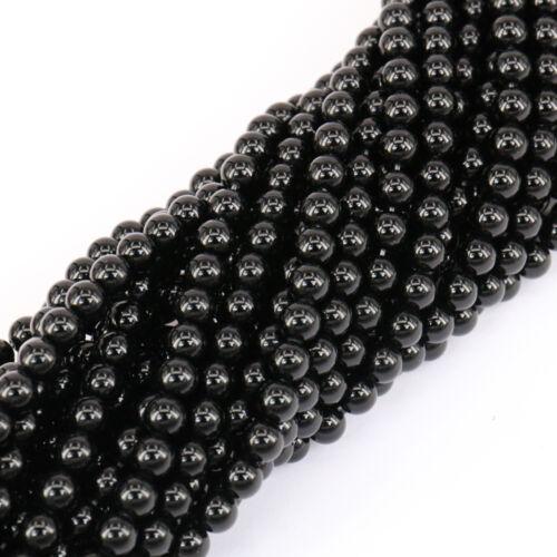 Black Agate Gemstone Round Loose Spacer Beads 16'' Strand 4 6 8 10mm Finding DIY