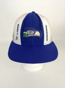 Details about Vintage 80 s NFL Football Trucker Snapback Cap Hat Seattle  Seahawks Blue White 94f4b3034