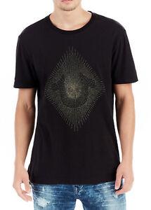 True-Religion-Men-039-s-Metallic-Embroidered-String-Crew-Tee-Shirt-Top-MSJ565N162