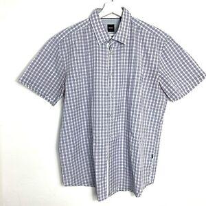 Para-Hombre-Hugo-Boss-Multi-cheque-Calce-Ajustado-Camisa-de-manga-corta-XXL