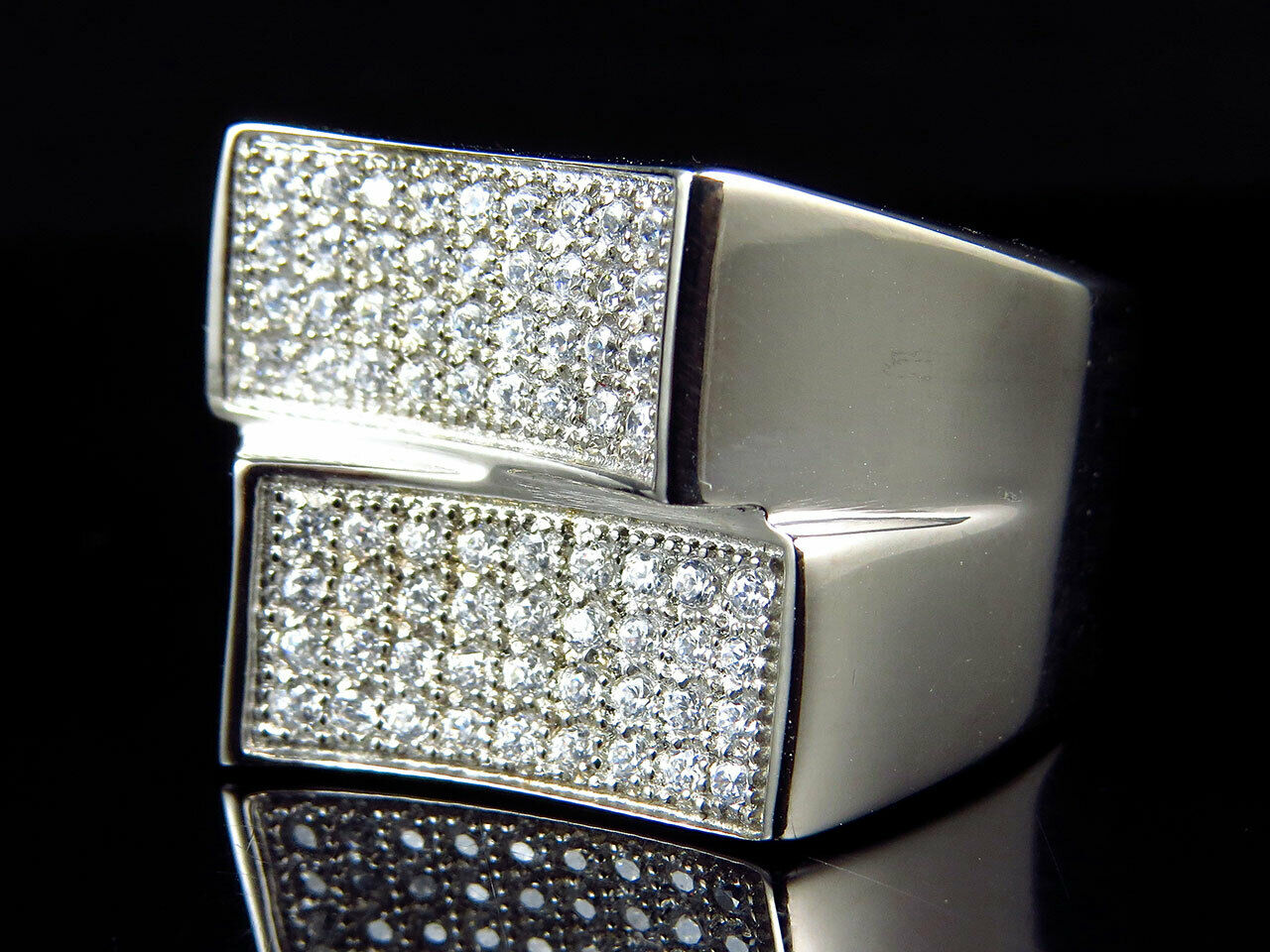 Men Simulated Lab Diamond 4-D Movement Style Ring In White gold Steel (13mm)