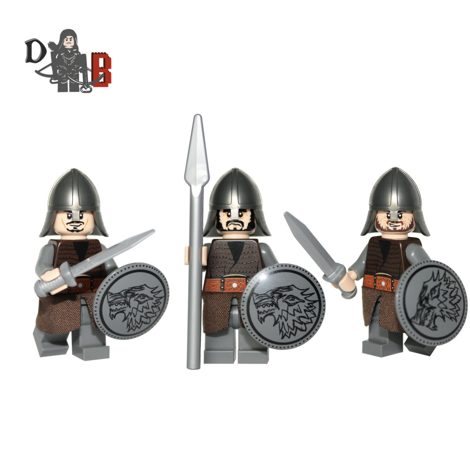 Game of Thrones Stark Soldier Jon Snow guards Minifigures. Made with LEGO parts