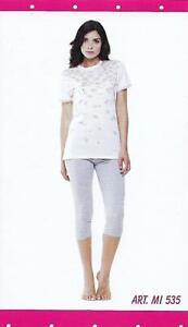 2e0fdb4a3b43 Caricamento dell'immagine in corso Pigiama-Donna-Mezza-Manica-Pantalone- Pinocchietto-100-Cotone-