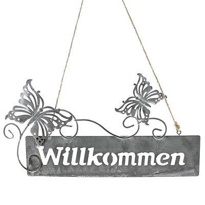"""Radient Hänger Metallschild """"willkommen"""" Mit Schmetterlinge 25cm/ Grau Antik Türschilder Außendekoration"""