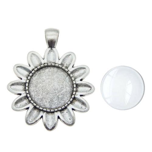 5 stk Vintage Silber Legierung Blume Anhänger Base Rahmen Glas Cabochon 18mm
