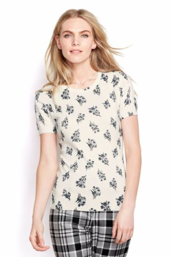 LANDS/' END MT Ivory Ditsy Floral Supima Cotton Sweater NWT $69