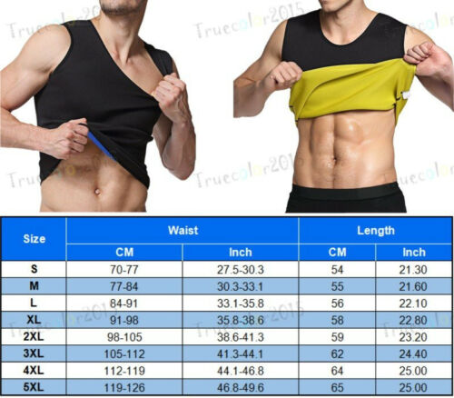 Men/'s Sauna Vest Wear Ultra Sweat Fat Burner Waist Trainer Shaper Tummy Control