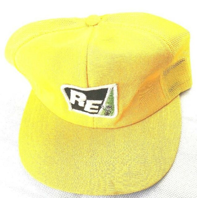 b36c23bb Rare Vintage RE Trucker HatSnap Back Yellow Net Back Hat Baseball Cap (C1)