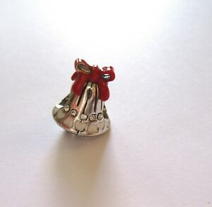 Brighton-Spacer-Charm-Silver-Bell-red-bow-clear-crystals-Christmas-holiday