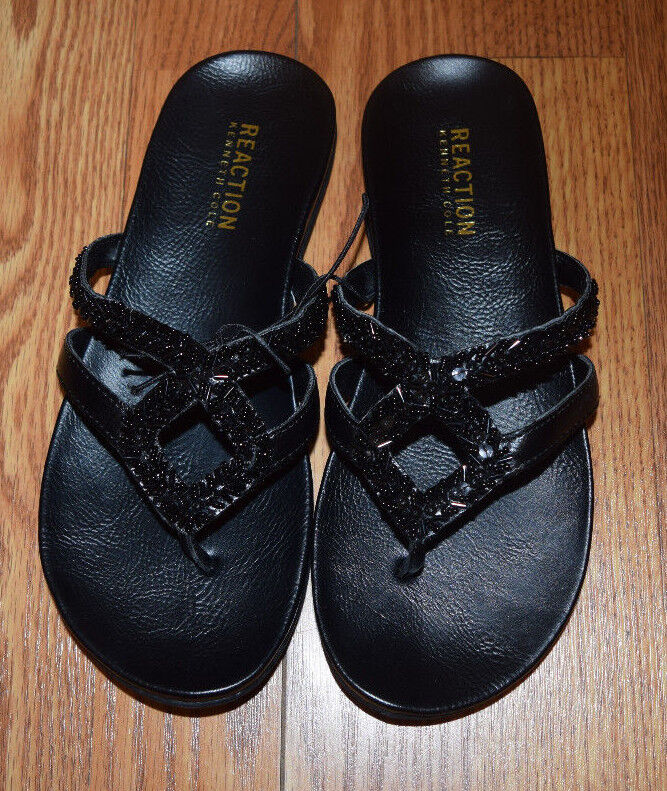 NEW Womens KENNETH COLE REACTION Black Jewel 6 2 Sandals Shoes Sz 6 Jewel 745430