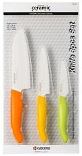 "Kyocera Revolution 5.5"" Santoku 4.5"" Utility 3"" Paring Ceramic Knife Set Citrus"