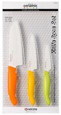 "Kyocera Revolution 5.5"" Santoku 4.5"" Utility 3"" Paring Ceramic Knife Set Citrus"