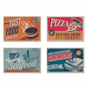 Tischset-Retro-Bar-American-Diner-4er-Set-Untersetzer-Textil-Platzset-Fast-Food
