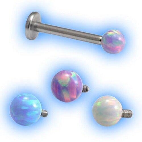 Titanium Internal Labret Blue Opal Ball Choose Ti colour and length 1.2mm 16g